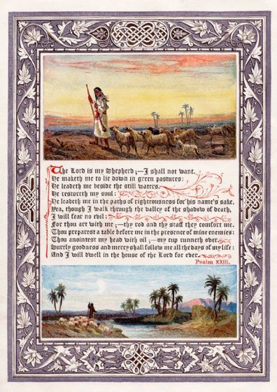 Psalm 23, King James Bible (1880) The Lord Is My Shepherd. Print/Poster (5458)